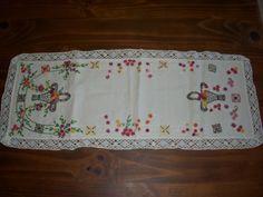 Vintage Hand Embroidered Dresser Scarf  Runner - Bullion Knots!!