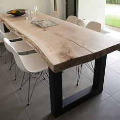 What about a live edge table with modern seating? If you are having one built this could be a possibility. New Kitchen, Kitchen Dining, Kitchen Decor, Dinning Room Tables, Dining Area, Live Edge Table, Küchen Design, Interior Design, Wood Table