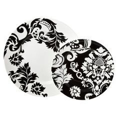 Damask 16 Piece Dinnerware Set - Black/White