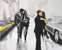 Janusz Haka, Black & White, Serigrafia e intervento a mano su tela, 125x95 cm