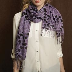 Elephant Pattern Scarf Assorted 3 Colors © Twos Company