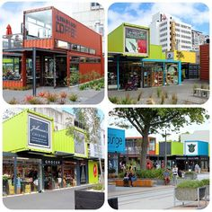 Bill ✔️ Christchurch New Zealand, container mall! All rebuilt after the earthquake. Container Buildings, Container Architecture, Architecture Design, Shipping Container Design, Shipping Containers, Mall, Christchurch New Zealand, Container Cafe, Container Conversions