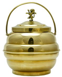 Ice Bucket in Brass with Lion Finial English Art Deco - form + function perfection