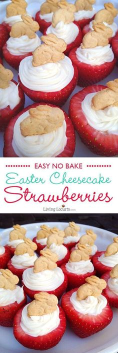 Easy no-bake Easter Bunny Cheesecake Stuffed Strawberries! Wow your guests with this quick and simple snack on Easter Sunday. A fun party dessert for spring. #easter #strawberry #cheesecake #dessert #recipe