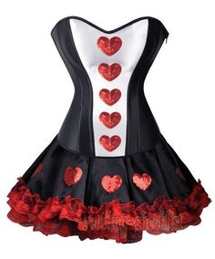 Sexy Queen Of Hearts Corset Costume Mini Skirt Steampunk Size XL Club WC A2386 #other #LaceUp