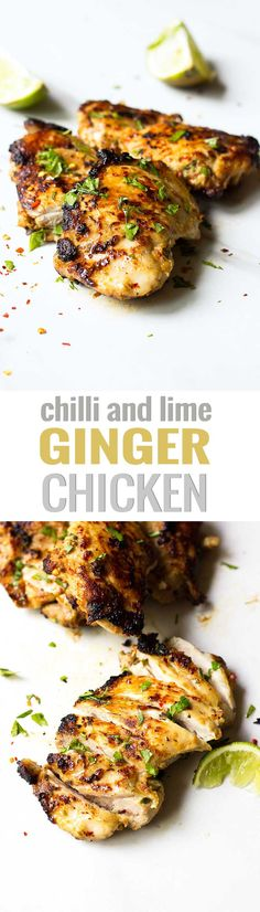 Ginger, Chilli Lime Chicken Recipe! Juicy chicken thighs are marinated in lime juice, chilli, ginger and garlic then grilled to perfection! Perfect for dinner parties, BBQ, or for a weeknight meal! #chilli #lime #chicken