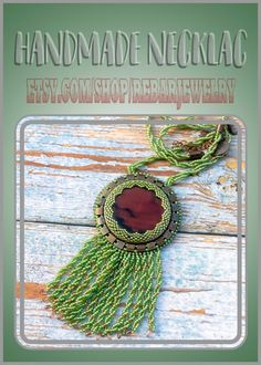 Bead embroidered necklace pendant with green beaded fringe. Green brown beadwork agate necklace in boho style. Boho seed beads jewelry. Soutache Necklace, Fringe Necklace, Agate Necklace, Handmade Necklaces, Handmade Jewelry, Unique Jewelry, Handmade Gifts, Seed Bead Jewelry, Seed Beads
