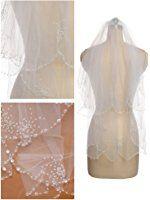 Passat Ivory 2 Tier Short Rhinestone Wedding Veil Bridal Veil with Crystals 14