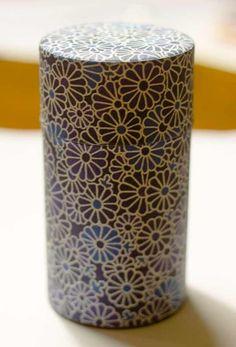 Japanese tea tin KIKU design.