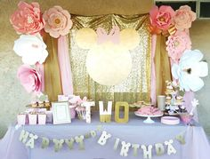 Pink and gold Minnie Mouse birthday party. Backdrop candy buffet decorations diy