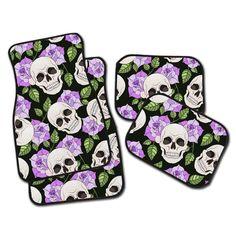 Purple Rose and Skull Car Mats