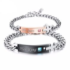 Cheap Charm Bracelets, Buy Directly from China Suppliers:Jiayiqi Fashion Couple Bracelets Her King His Queen Her Beast His Beauty Stainless Steel Bracelet for Women Men Jewelry Gifts Cheap Charm Bracelets, Couple Bracelets, Bangle Bracelets, Bangles, Body Jewelry, Jewelry Gifts, Jewelry Accessories, Fashion Accessories, Jewellery