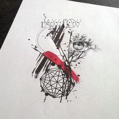 Abstract trash polka tree tattoo eye geometry
