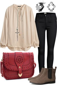Arya inspired business casual outfit by withfashionandblood featuring a pendant necklaceH M pink satin top, $17 / ONLY cotton pants, $38 / H&M brown boots, $42 / Aztec crossbody bag / C. Wonder punk rock earrings / Pendant necklace