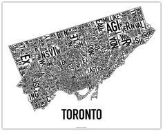 Typographic Map of Toronto Ontario, Toronto Neighbourhoods, Unique Maps, Neighborhood Watch, Toronto Life, Canada, New Poster, Cool Posters, Map Art