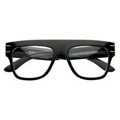 Bold vintage inspired frame that offers a look of sophistication with its clean lines and gold accents on the temples. Made with an acetate base frame, metal hinges and clear polycarbonate UV protected lenses. Fast Fashion, Urban Fashion, Eyes Meme, Handsome Bearded Men, Mens Glasses, Prescription Lenses, Horns, Vintage Inspired, Eyewear