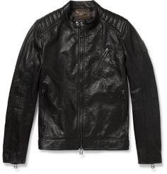 Belstaff - Kirkham Tumbled-Leather Biker Jacket|MR PORTER
