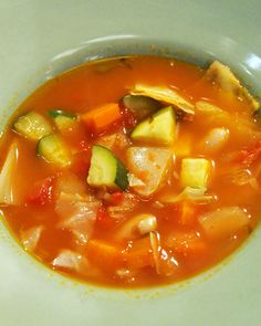 """Rustic Vegetable Soup: """"Homemade marinara sauce surrounds a colorful array of vegetables in this sensational soup"""""""