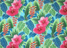 80ho'oni Vintage Style Hawaiian Large scale, colorful hibiscus, heliconia, and various tropical ferns and leaves, on a cotton poplin apparel fabric.