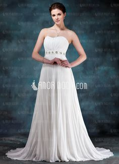 Empire Sweetheart Court Train Chiffon Wedding Dress With Ruffle Beadwork Sequins (002012199) $174  http://www.amormoda.com/Empire-Sweetheart-Court-Train-Chiffon-Wedding-Dress-With-Ruffle-Beadwork-Sequins-002012199-g12199