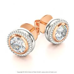 Diamond Earrings Petit Fours includes 18k White and Red Gold