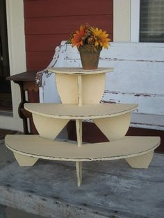 Reserved Vintage Tiered Plant Shelf Demi Lune Country Chic