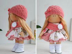 Handmade doll toy Tilda doll Interior doll Art doll blonde pink colors Soft doll…