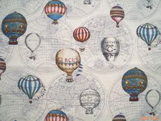 Hot air balloons on ivory 1/2 yard pure cotton by lisahestore