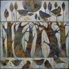 Art Sue Davis 2015 Trees and birds Landscape Quilts, Arte Pop, Totems, Art Plastique, Fabric Art, Bird Art, Medium Art, Art Techniques, Art Tutorials