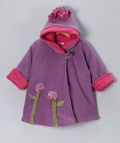 Take a look at this Lavender Flower Fleece Wrap Swing Coat - Infant, Toddler & Girls by Corky & Company on #zulily today!