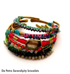 De Petra serendipity bracelets brass, thread, watermelon turmaline, peruvian opal, kyanite, pyrite www.depetra.com