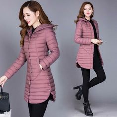 2018 Winter Autumn Women Cotton New Slim Coat Hooded Cotton Padded Jacket All-Match Parkas Cotton Padded Jacket Female Outwear Winter Dress Outfits, Casual Dress Outfits, Winter Fashion Outfits, Trendy Fashion, Winter Jackets Women, Coats For Women, Long Winter Jacket, Elegantes Outfit, Stylish Jackets