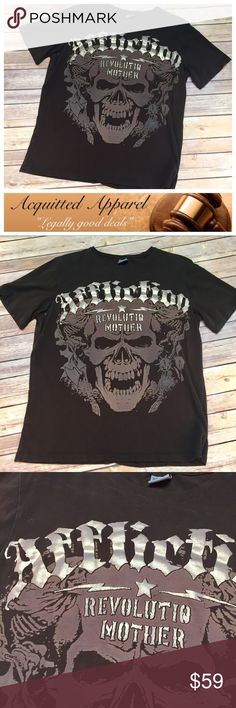 "[AFFLICTION] Men's Vintage Tee This vintage affliction tee for men is in almost like new condition. It features a color changing pearl lettering and skull accents. Size XXL. Please keep in mind the vintage affliction ran smaller than modern affliction. Approx. measurements: length from top down back to bottom 26"", pit to pit not stretched 21"". **location: B-36** Affliction Shirts Tees - Short Sleeve"