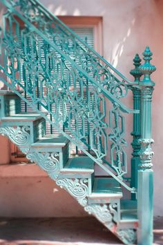 Travel Photography - Savannah, Georgia, Teal Staircase, Southern Gothic Romantic Wall Decor on Etsy Art Nouveau, Art Deco, Shades Of Turquoise, Shades Of Blue, Aqua Blue, Mint Green, Azul Tiffany, Take The Stairs, Stair Steps
