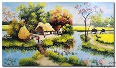 Tranh sơn dầu Dòng Sông Quê Hương M1907 được vẽ trên vải lanh với chất liệu sơn dầu mang đến cho tấm tranh sự sống động, rực rỡ và chân thực. Tư vấn treo tranh miễn phí Art Village, Landscape Paintings, Landscape Art, Watercolor Art, Acrylics, Folk Art, Fashion Art, Vietnam, Asia