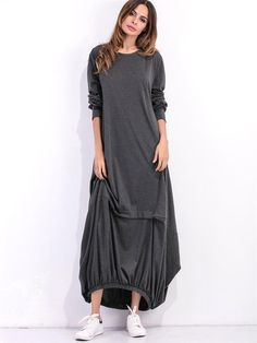 Solid Color Long Sleeves Loose Maxi Dresses