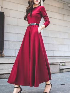 Round Neck Patch Pocket Plain Maxi Dresses - - Source by marwayay Maxi Dress With Sleeves, Floral Maxi Dress, The Dress, Plain Dress, Chiffon Maxi Dress, Dress Long, Cheap Party Dresses, Party Dresses Online, Dress Party