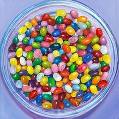 """Jelly Bean Bowl"" Colorful Candy Wall Art for Children by Jim Monahan for Oopsy Daisy, Fine Art for Kids size 14x14 $69"