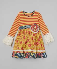 Look at this Mustard Floral Clover Twirl Dress - Toddler & Girls on #zulily today!