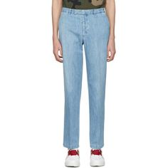 Valentino Blue Denim Trousers ($580) ❤ liked on Polyvore featuring men's fashion, men's clothing, men's pants, men's casual pants, blue, mens denim pants and mens blue pants