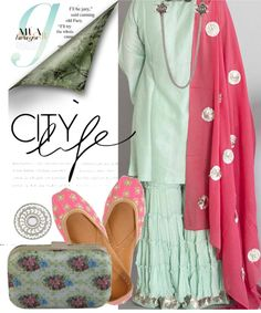 This festive season, gift yourself this mint green cotton Sharara with a pink chanderi dupatta. Elevate the look by adding statement linked earrings with orange blossoms and a ginormous silver leaf ring. Add the finishing touches with pearl encrusted pink juttis and a bouquet printed mint green clutch. Featured Products  Mint Green Sharara with Pink …