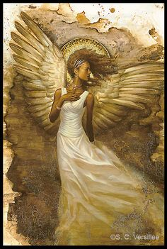 """""""Seraphim"""" a mixed media painting on acetate. Black Art Pictures, Angel Pictures, African American Art, African Art, Art Black Love, Angel Artwork, I Believe In Angels, Ange Demon, Black Angels"""