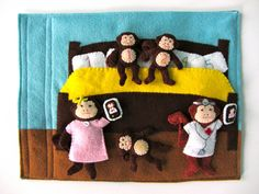 "Five Little Monkeys quiet book page or you could call it ""the wonders of felt."""