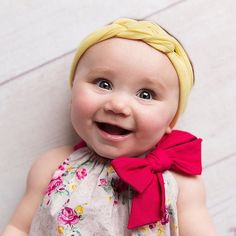 Lemonade Yellow Baby Headband Infant Toddler by hollyblossoms
