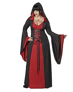 California Costumes Plus-Size Deluxe Hooded Robe A robe with a dark passion for purple. The deluxe hooded robe features robe with flared sleeves, attached hood, and lace up ties. Necklace and shoes not included. Little Red Riding Hood Halloween Costume, Red Riding Hood Costume, Adult Costumes, Costumes For Women, Halloween Costumes, Halloween Ideas, Gothic Halloween, Halloween Party, Holiday Costumes