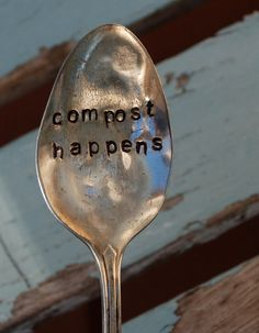Compost Happens hand stamped spoon vintage by VintageGardenArt, $12.99