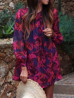 Color Block Floral Long Sleeve A-line Dress