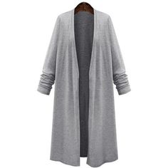 Yoins Fashion Long Length Cardigan in Grey (£18) ❤ liked on Polyvore featuring tops, cardigans, grey, long open cardigan, grey open front cardigan, long sleeve tops, gray cardigan and long tops