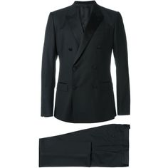 Dolce & Gabbana three-piece dinner suit ($3,495) ❤ liked on Polyvore featuring men's fashion, men's clothing, men's suits, black, dolce gabbana mens suits, mens 3 piece suits, dolce gabbana mens clothing, mens tuxedo suits and mens three piece suit