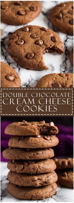 Double Chocolate Cream Cheese Cookies | marshasbakingaddiction.com…